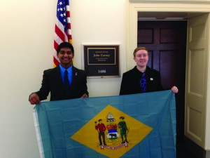 Left to right: Vilas Annavarapu, 2016 Youth Governor; Dakota (Cody) Edwards, 2016 Youth inGovernment delegate from Western Family YMCA
