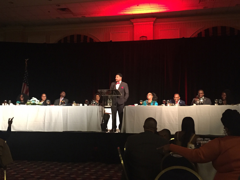 Dr. Steve Perry addressing the audience at the Black Achievers Celebration.